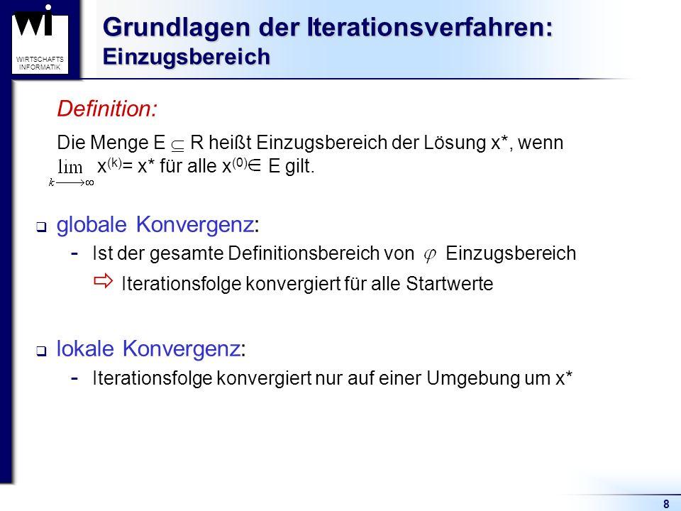 8 WIRTSCHAFTS INFORMATIK Grundlagen der Iterationsverfahren: Einzugsbereich Definition: Die Menge E R heißt Einzugsbereich der Lösung x*, wenn x (k) =