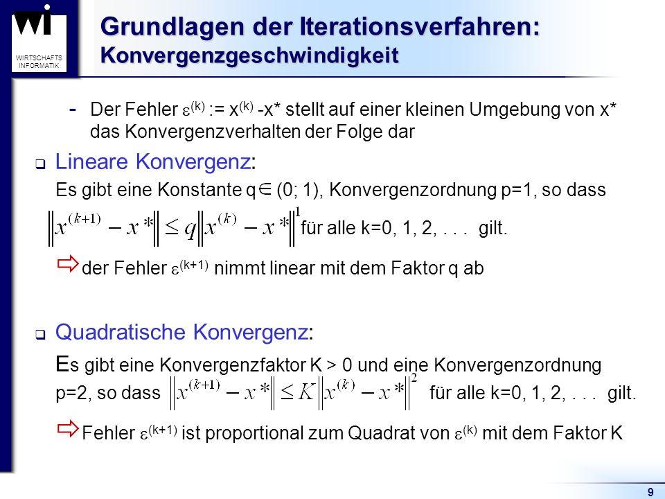 9 WIRTSCHAFTS INFORMATIK Grundlagen der Iterationsverfahren: Konvergenzgeschwindigkeit  Der Fehler (k) := x (k) -x* stellt auf einer kleinen Umgebung