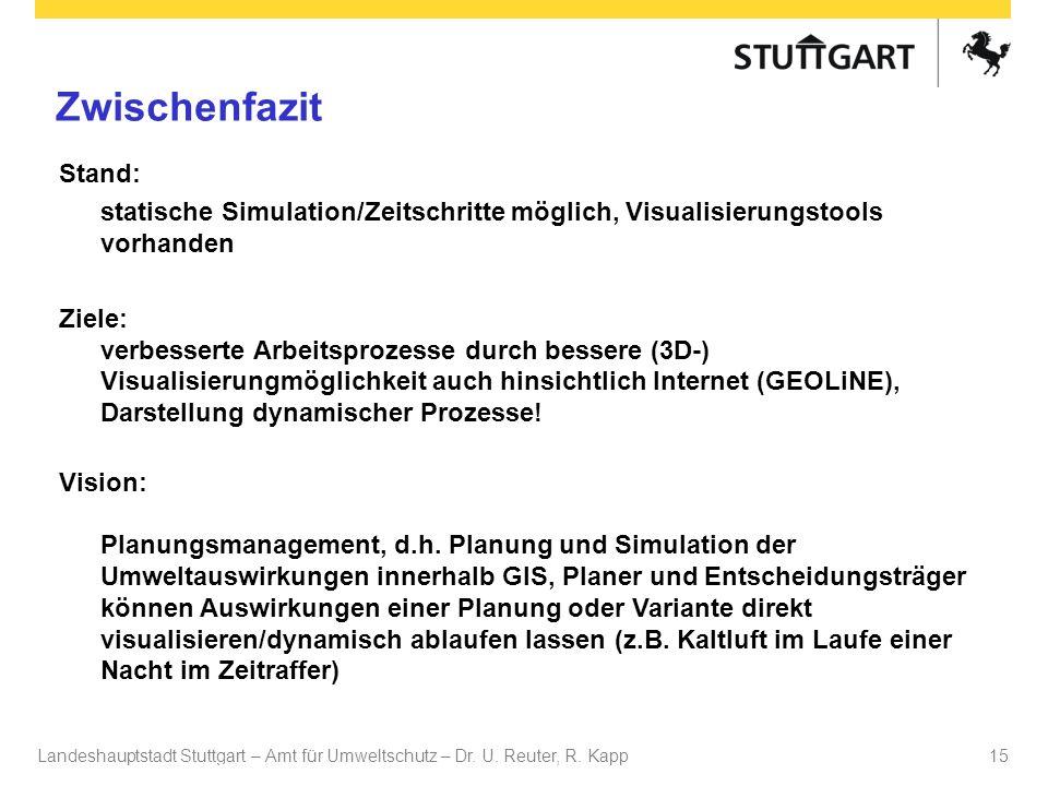 Landeshauptstadt Stuttgart – Amt für Umweltschutz – Dr. U. Reuter, R. Kapp Dr. U Reuter 15 Zwischenfazit Stand: statische Simulation/Zeitschritte mögl