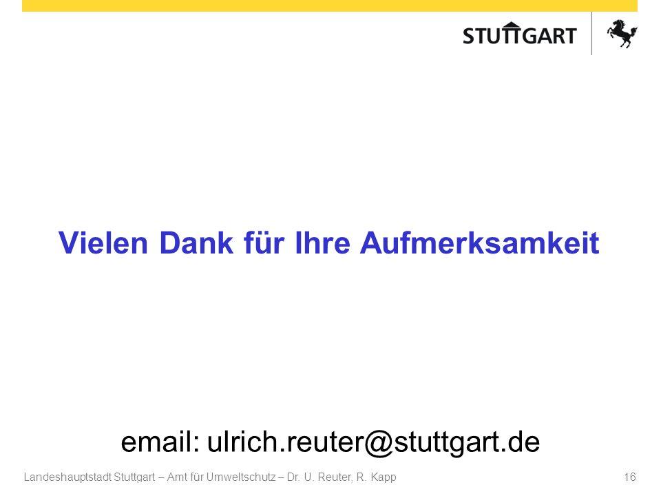 Landeshauptstadt Stuttgart – Amt für Umweltschutz – Dr. U. Reuter, R. Kapp Dr. U Reuter 16 Vielen Dank für Ihre Aufmerksamkeit email: ulrich.reuter@st