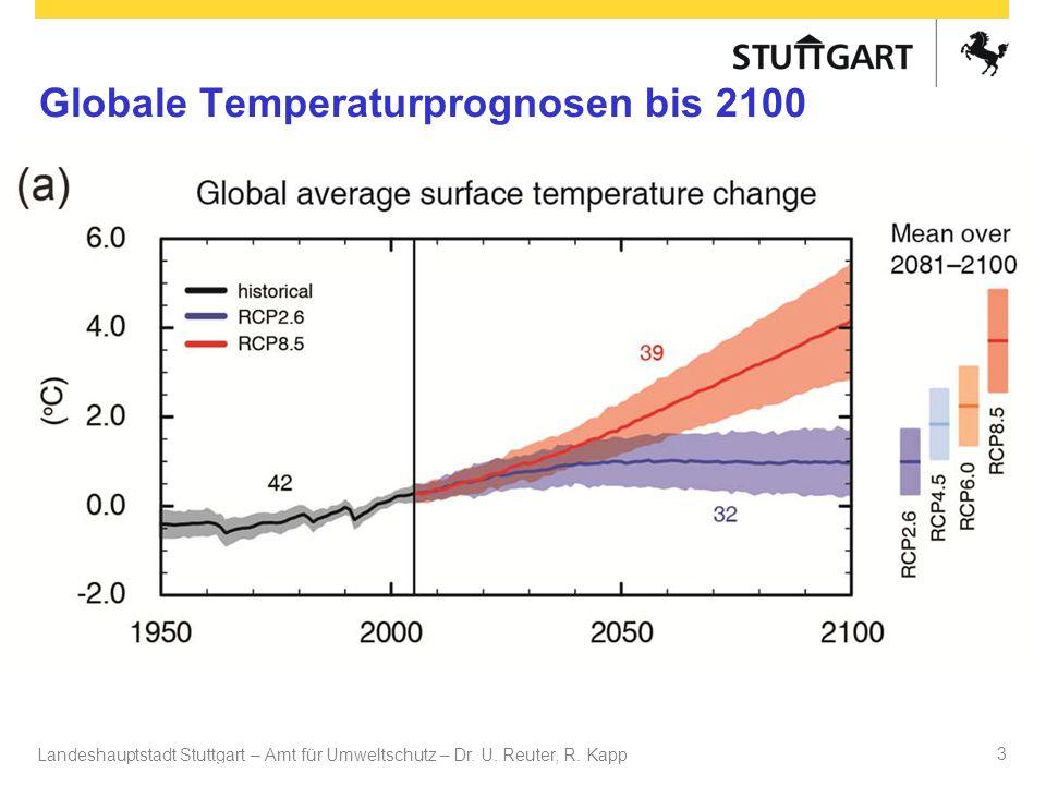 Landeshauptstadt Stuttgart – Amt für Umweltschutz – Dr. U. Reuter, R. Kapp Dr. U Reuter 3 Globale Temperaturprognosen bis 2100