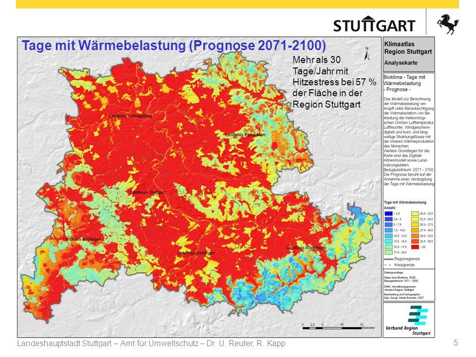 Landeshauptstadt Stuttgart – Amt für Umweltschutz – Dr. U. Reuter, R. Kapp Dr. U Reuter 5 Mehr als 30 Tage/Jahr mit Hitzestress bei 57 % der Fläche in