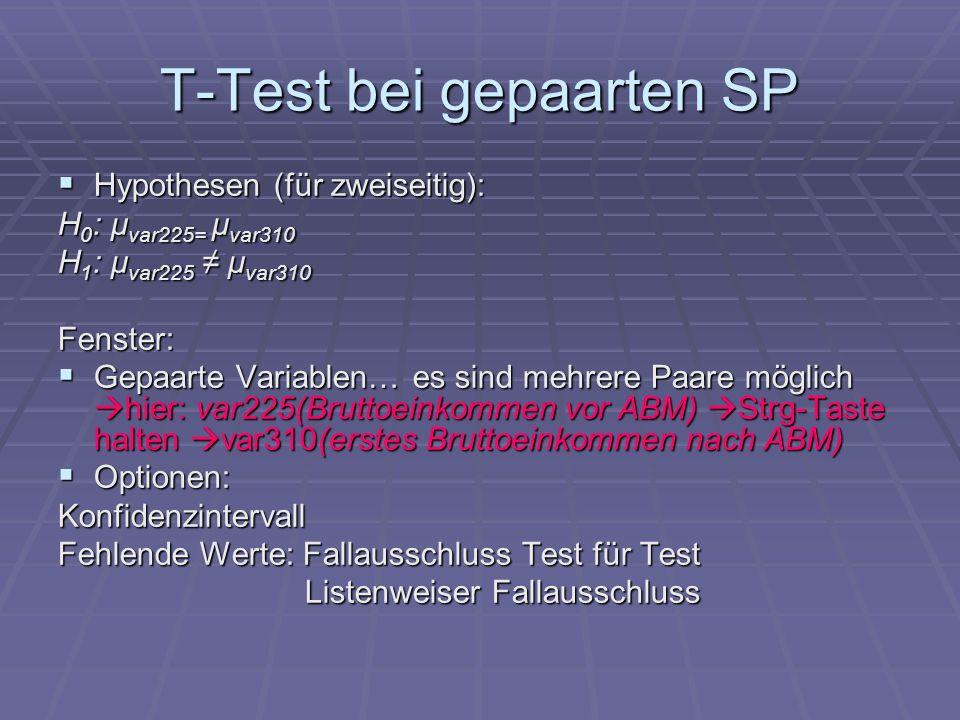 T-Test bei gepaarten SP Hypothesen (für zweiseitig): Hypothesen (für zweiseitig): H 0 : μ var225= μ var310 H 1 : μ var225 μ var310 Fenster: Gepaarte V