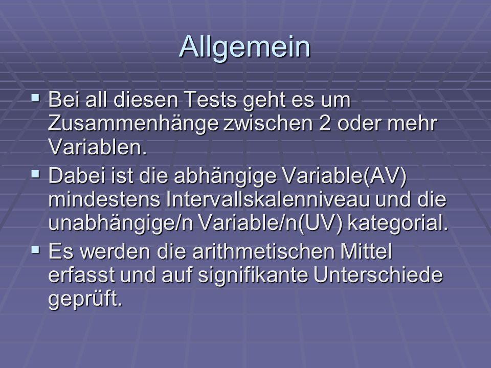 Allgemein Bei all diesen Tests geht es um Zusammenhänge zwischen 2 oder mehr Variablen. Bei all diesen Tests geht es um Zusammenhänge zwischen 2 oder