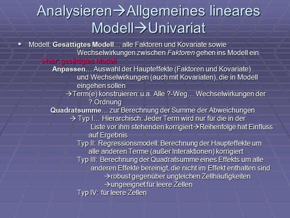 Analysieren Allgemeines lineares Modell Univariat Modell: Gesättigtes Modell… alle Faktoren und Kovariate sowie Modell: Gesättigtes Modell… alle Fakto