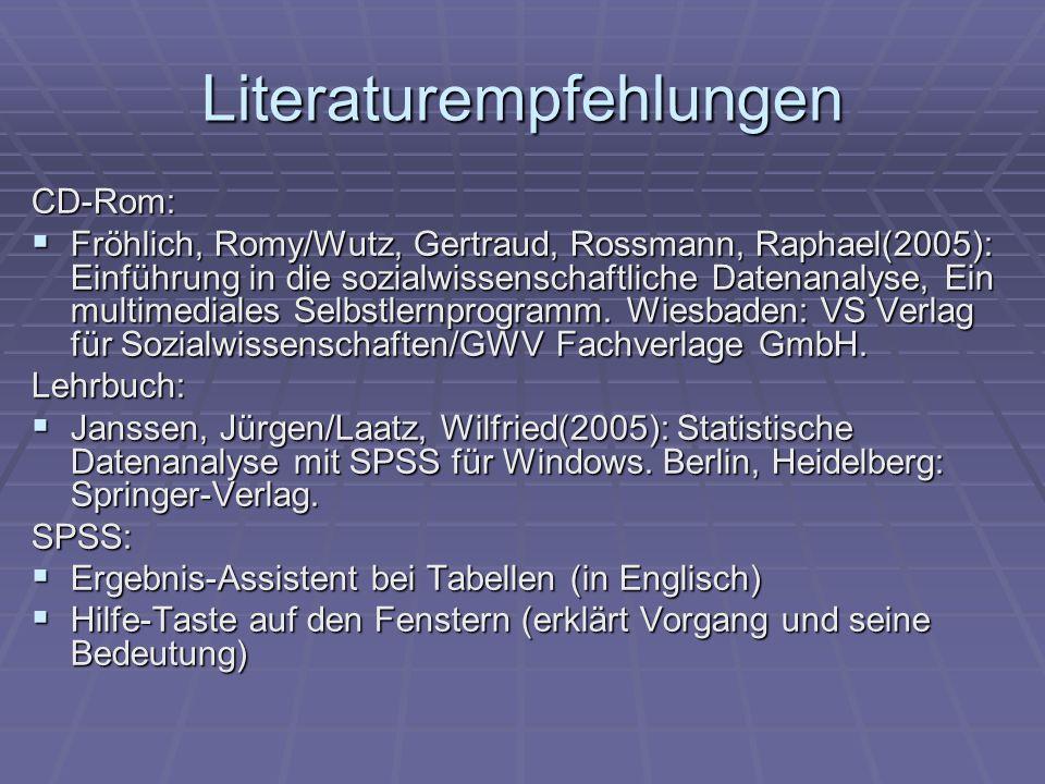 Literaturempfehlungen CD-Rom: Fröhlich, Romy/Wutz, Gertraud, Rossmann, Raphael(2005): Einführung in die sozialwissenschaftliche Datenanalyse, Ein mult