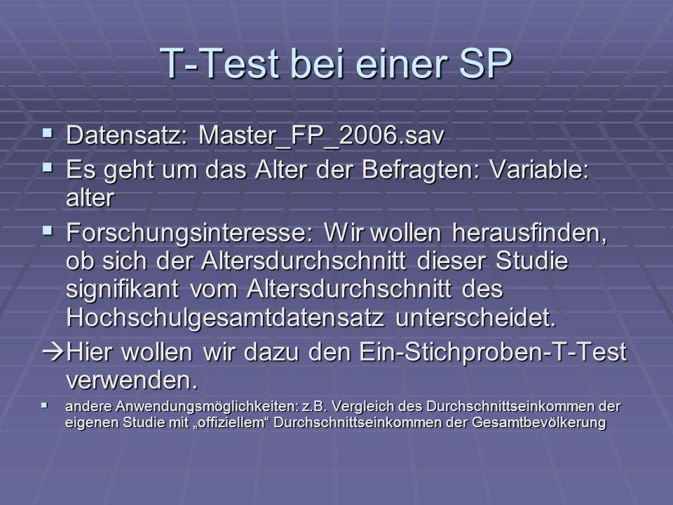 T-Test bei einer SP Datensatz: Master_FP_2006.sav Datensatz: Master_FP_2006.sav Es geht um das Alter der Befragten: Variable: alter Es geht um das Alt
