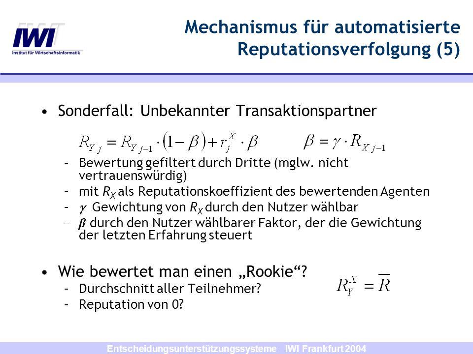 Entscheidungsunterstützungssysteme IWI Frankfurt 2004 Mechanismus für automatisierte Reputationsverfolgung (5) Sonderfall: Unbekannter Transaktionspar