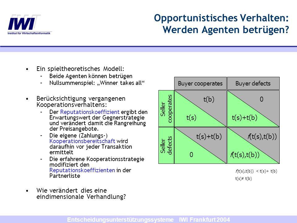Entscheidungsunterstützungssysteme IWI Frankfurt 2004 t(s) t(b) 0 t(s)+t(b) f(t(s),t(b)) t(s)+t(b) 0 Buyer cooperatesBuyer defects Seller cooperates S