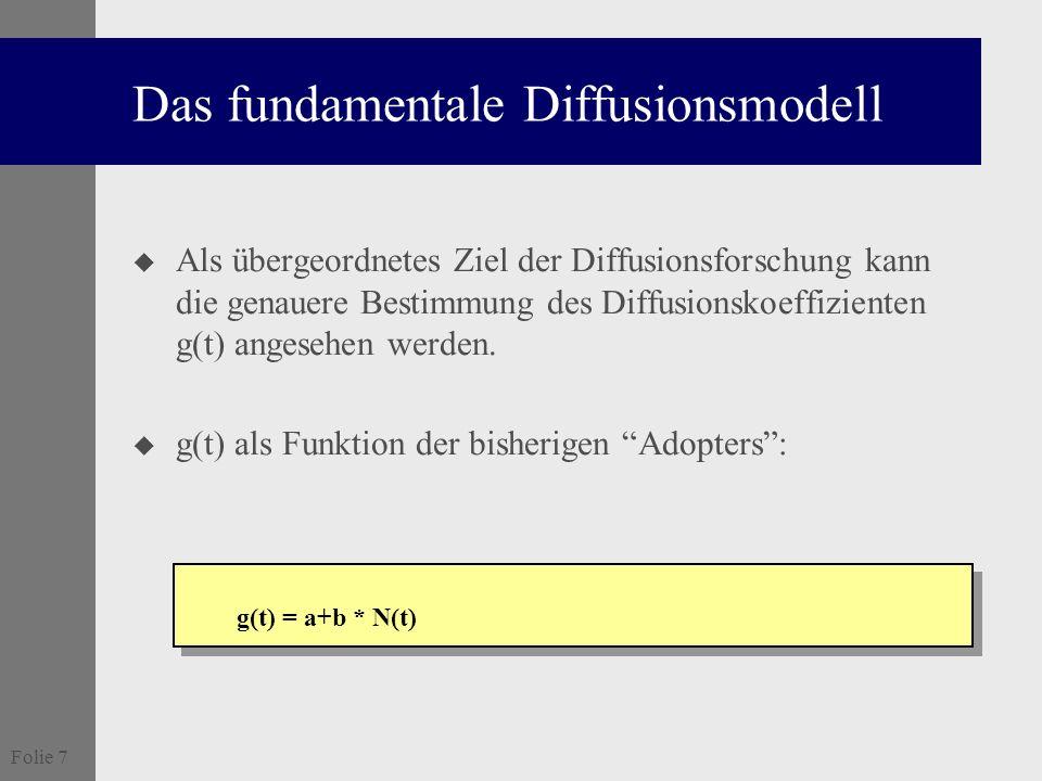 Folie 7 Das fundamentale Diffusionsmodell u Als übergeordnetes Ziel der Diffusionsforschung kann die genauere Bestimmung des Diffusionskoeffizienten g