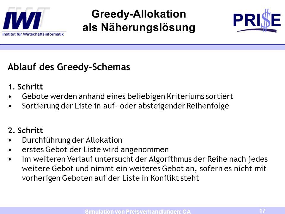 17 Simulation von Preisverhandlungen: CA Greedy-Allokation als Näherungslösung Ablauf des Greedy-Schemas 1. Schritt Gebote werden anhand eines beliebi