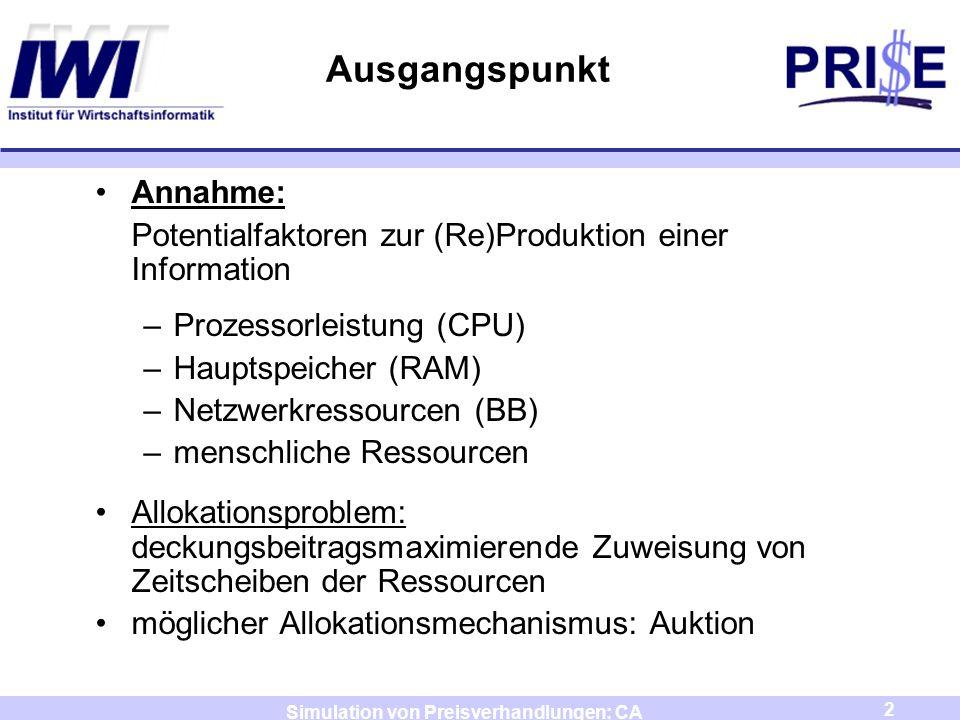 2 Simulation von Preisverhandlungen: CA Ausgangspunkt Annahme: Potentialfaktoren zur (Re)Produktion einer Information –Prozessorleistung (CPU) –Haupts