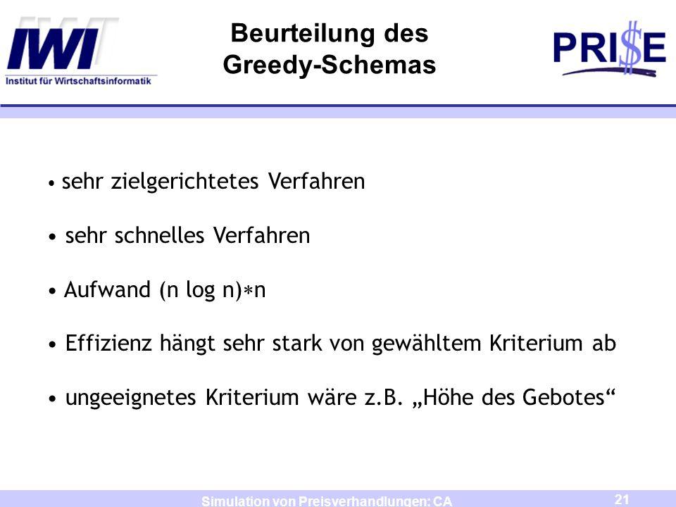 21 Simulation von Preisverhandlungen: CA Beurteilung des Greedy-Schemas sehr zielgerichtetes Verfahren sehr schnelles Verfahren Aufwand (n log n) n Ef