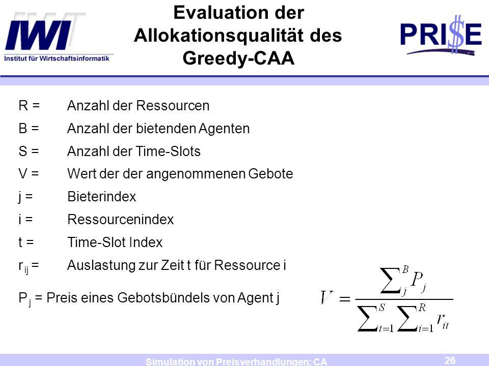 26 Simulation von Preisverhandlungen: CA Evaluation der Allokationsqualität des Greedy-CAA R =Anzahl der Ressourcen B =Anzahl der bietenden Agenten S