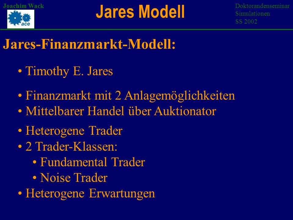 Jares Modell Joachim WackDoktorandenseminar Simulationen SS 2002 Finanzmarkt mit 2 Anlagemöglichkeiten Mittelbarer Handel über Auktionator Heterogene Trader 2 Trader-Klassen: Fundamental Trader Noise Trader Heterogene Erwartungen Jares-Finanzmarkt-Modell: Timothy E.