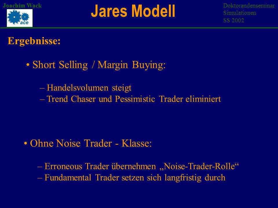 Modellvergleich Joachim WackDoktorandenseminar Simulationen SS 2002 SWARM reale Finanzmärkte 2 Anlagemöglichkeiten (keine Risikodiversifizierung) Simulation heterogener Erwartungen Mittelbarer Handel über Auktionator Gemeinsamkeiten :