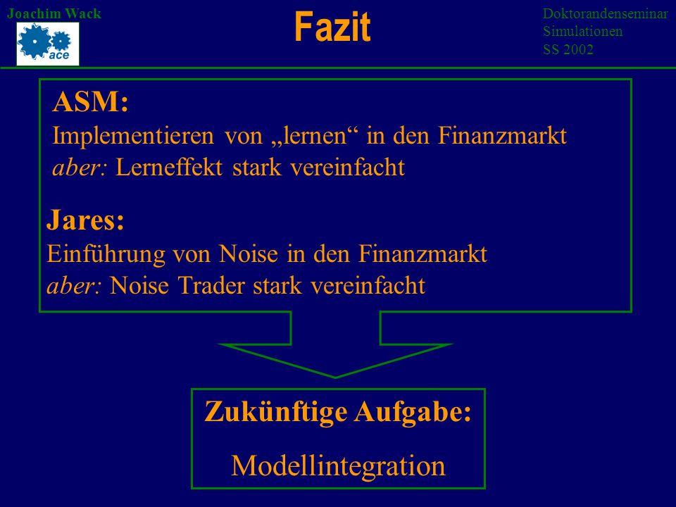 Fazit Joachim WackDoktorandenseminar Simulationen SS 2002 ASM: Implementieren von lernen in den Finanzmarkt aber: Lerneffekt stark vereinfacht Jares: Einführung von Noise in den Finanzmarkt aber: Noise Trader stark vereinfacht Zukünftige Aufgabe: Modellintegration
