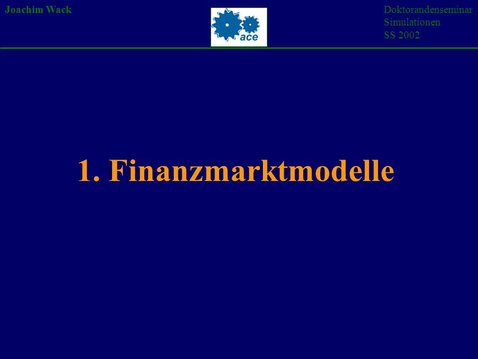 Joachim WackDoktorandenseminar Simulationen SS 2002 1. Finanzmarktmodelle