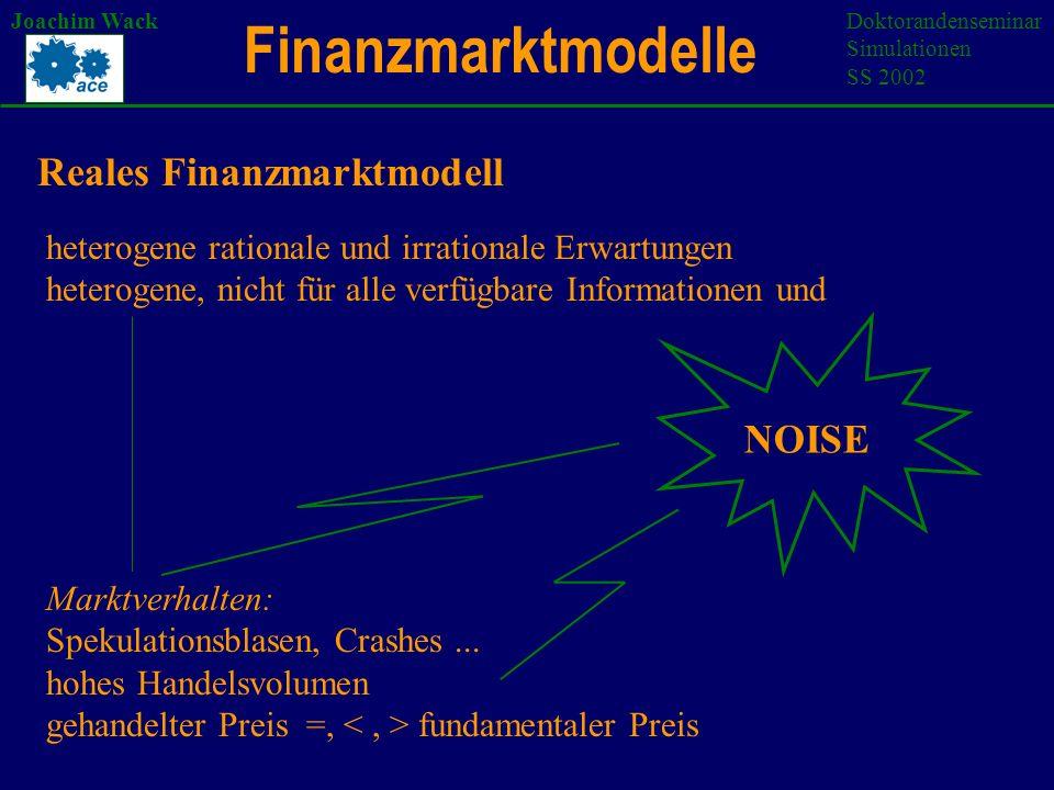 Finanzmarktmodelle Joachim WackDoktorandenseminar Simulationen SS 2002 Reales Finanzmarktmodell heterogene rationale und irrationale Erwartungen heterogene, nicht für alle verfügbare Informationen und NOISE Marktverhalten: Spekulationsblasen, Crashes...