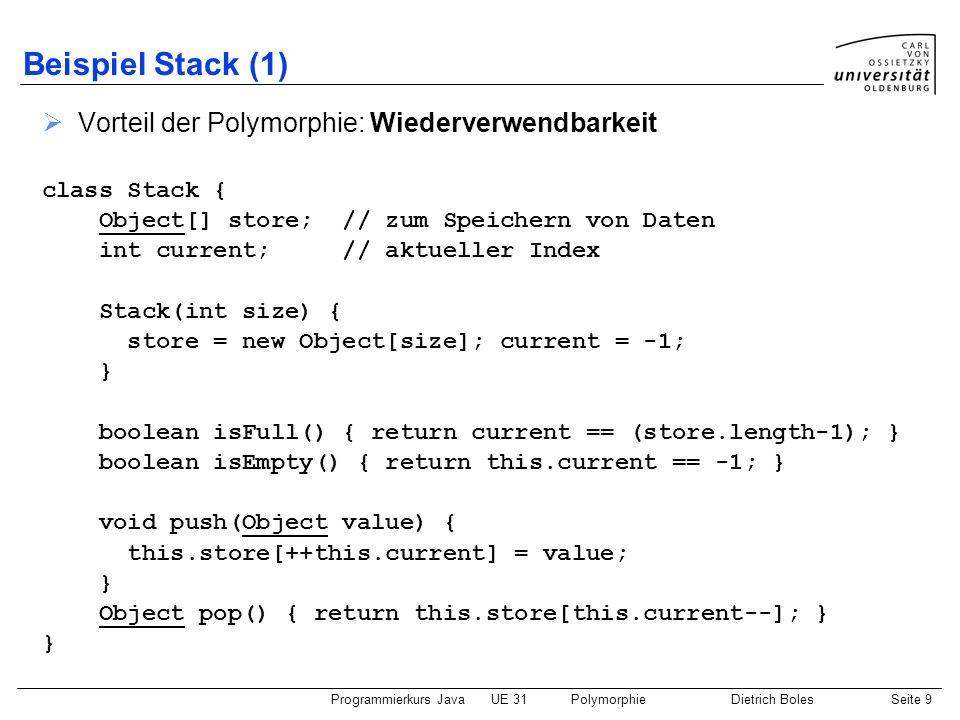 Programmierkurs JavaUE 31PolymorphieDietrich BolesSeite 10 Beispiel Stack (2) class Rueckwaerts { public static void main(String[] args) { Stack haufen = new Stack(10); while (!haufen.isFull()) { String eingabe = IO.readString( Eingabe: ); haufen.push(eingabe); } while (!haufen.isEmpty()) { Object obj = haufen.pop(); String str = (String)obj; System.out.println(str); }
