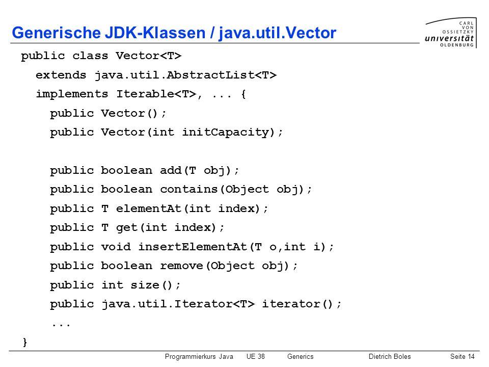 Programmierkurs JavaUE 38GenericsDietrich BolesSeite 14 Generische JDK-Klassen / java.util.Vector public class Vector extends java.util.AbstractList i