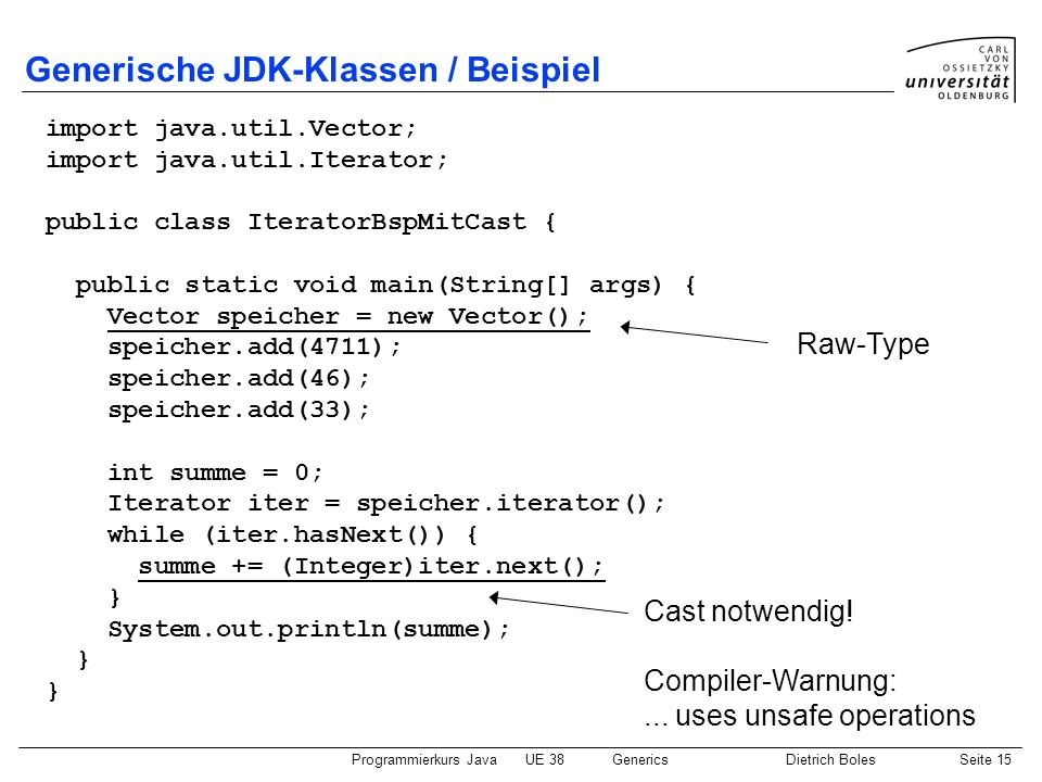 Programmierkurs JavaUE 38GenericsDietrich BolesSeite 15 Generische JDK-Klassen / Beispiel import java.util.Vector; import java.util.Iterator; public c