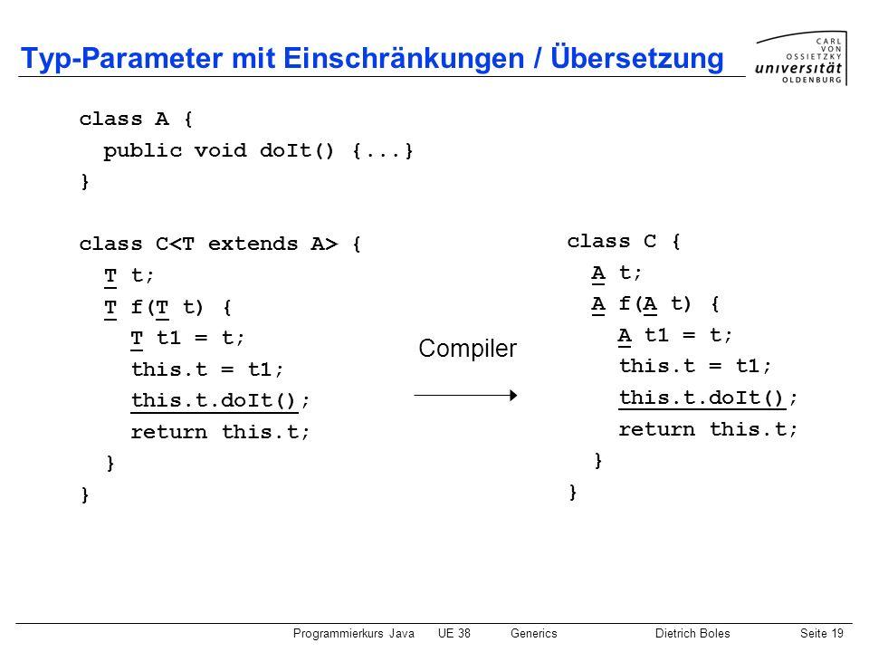 Programmierkurs JavaUE 38GenericsDietrich BolesSeite 19 Typ-Parameter mit Einschränkungen / Übersetzung class A { public void doIt() {...} } class C {