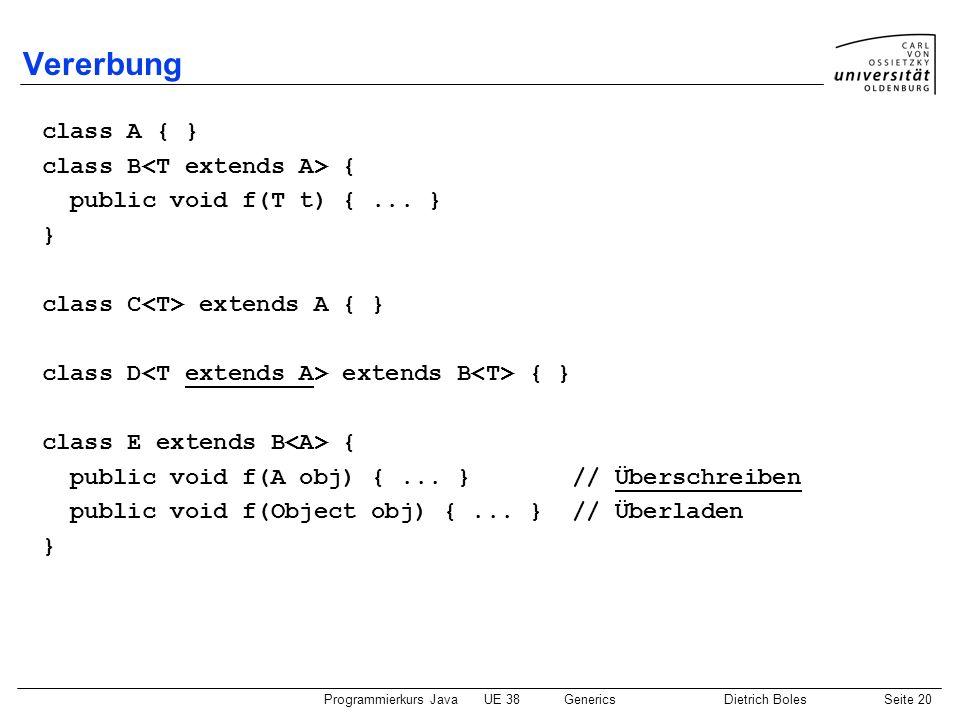 Programmierkurs JavaUE 38GenericsDietrich BolesSeite 20 Vererbung class A { } class B { public void f(T t) {... } } class C extends A { } class D exte