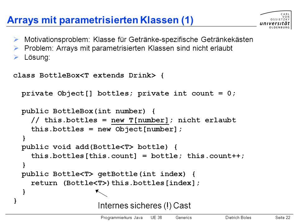 Programmierkurs JavaUE 38GenericsDietrich BolesSeite 22 Arrays mit parametrisierten Klassen (1) Motivationsproblem: Klasse für Getränke-spezifische Ge