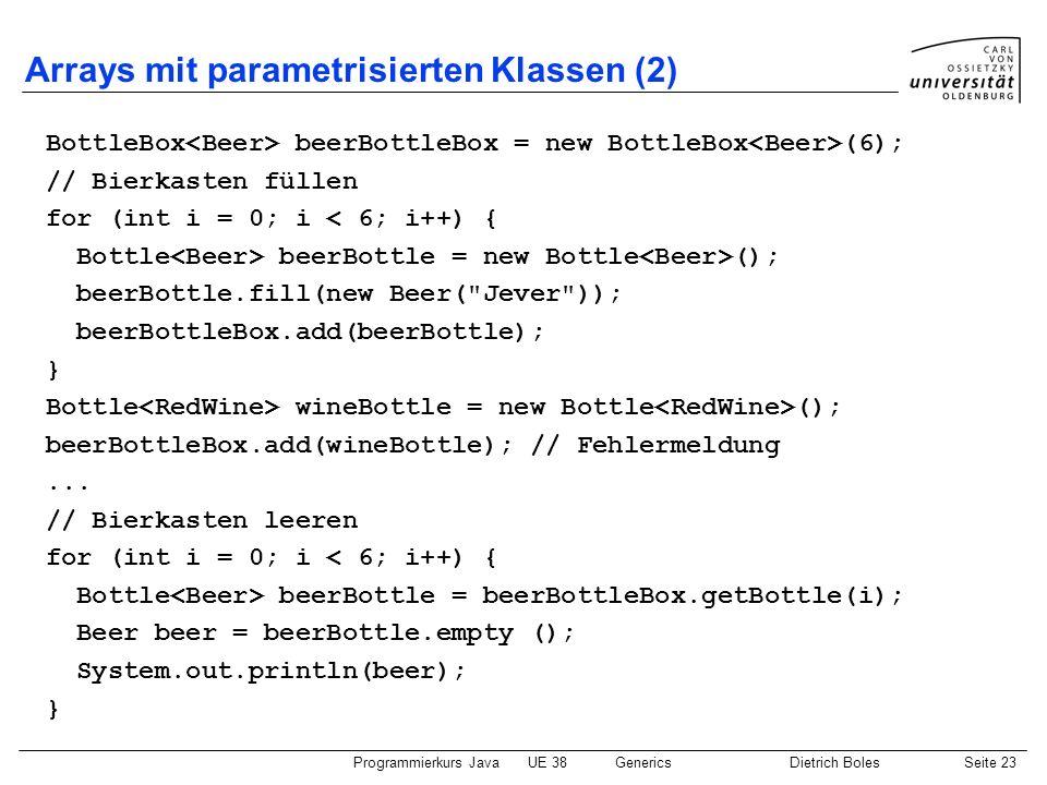 Programmierkurs JavaUE 38GenericsDietrich BolesSeite 23 Arrays mit parametrisierten Klassen (2) BottleBox beerBottleBox = new BottleBox (6); // Bierka