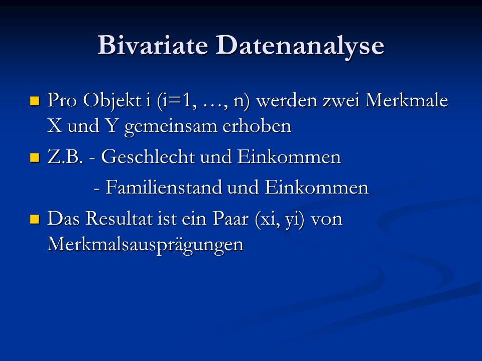 Bivariate Datenanalyse Pro Objekt i (i=1, …, n) werden zwei Merkmale X und Y gemeinsam erhoben Pro Objekt i (i=1, …, n) werden zwei Merkmale X und Y g