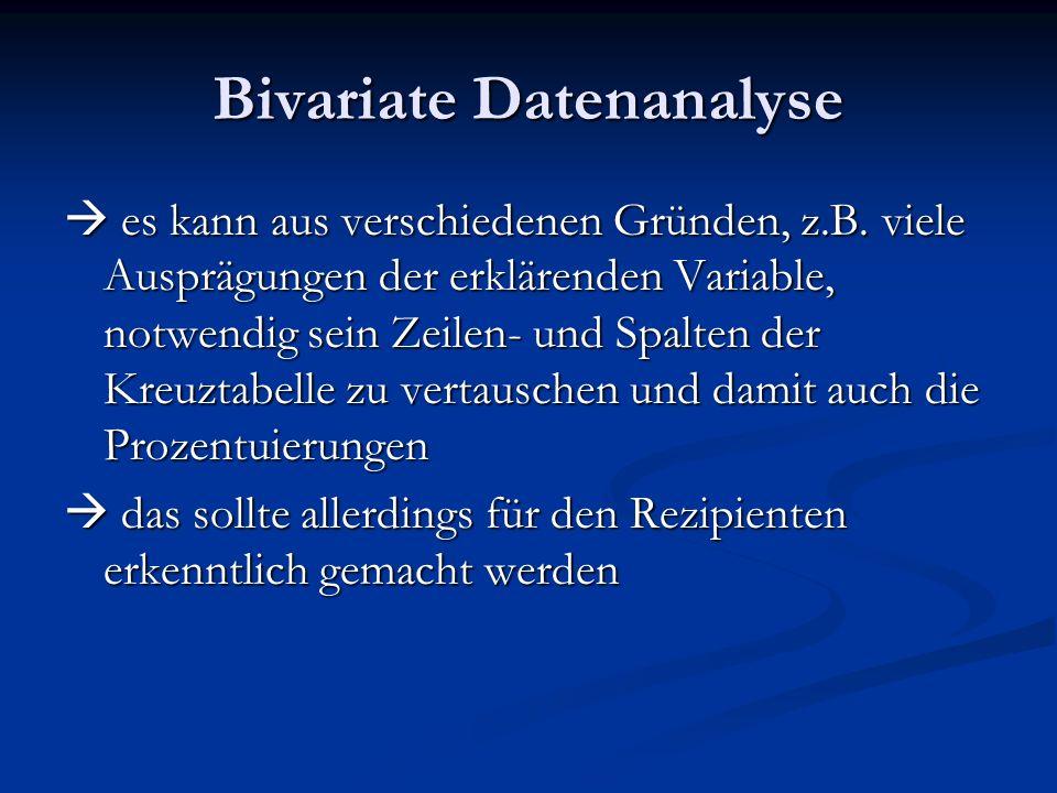 Bivariate Datenanalyse es kann aus verschiedenen Gründen, z.B. viele Ausprägungen der erklärenden Variable, notwendig sein Zeilen- und Spalten der Kre