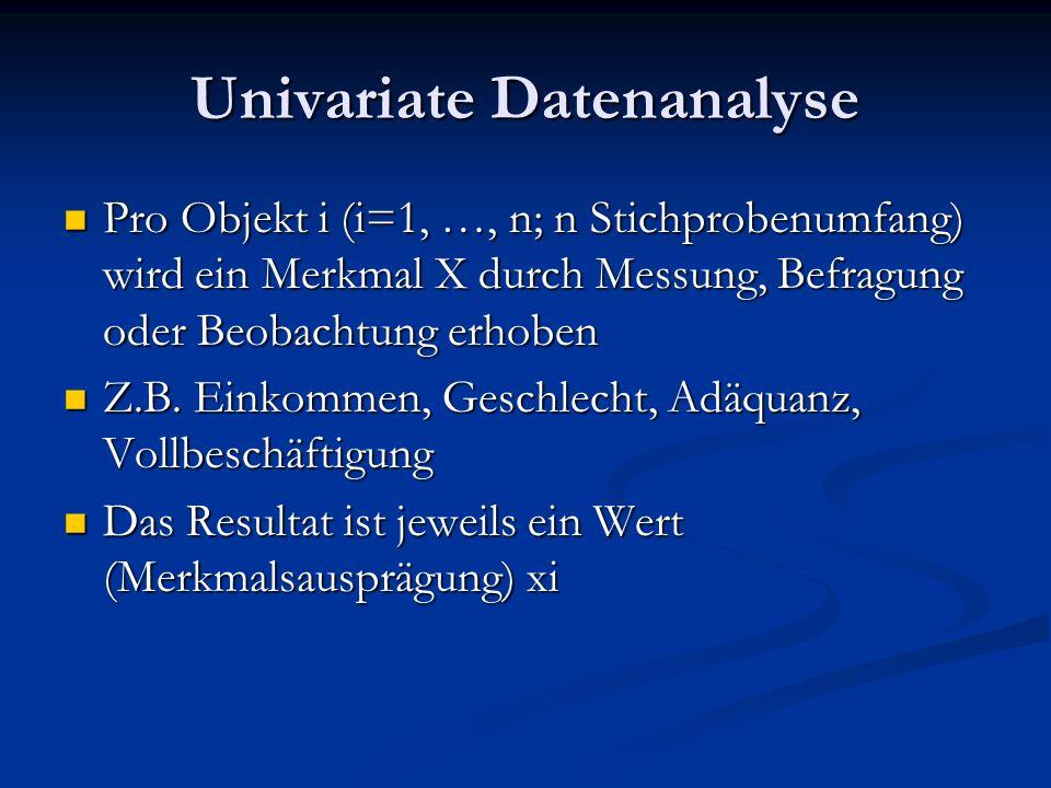 Univariate Datenanalyse Pro Objekt i (i=1, …, n; n Stichprobenumfang) wird ein Merkmal X durch Messung, Befragung oder Beobachtung erhoben Pro Objekt