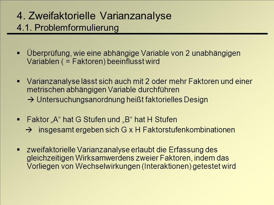 4. Zweifaktorielle Varianzanalyse 4.1. Problemformulierung Überprüfung, wie eine abhängige Variable von 2 unabhängigen Variablen ( = Faktoren) beeinfl