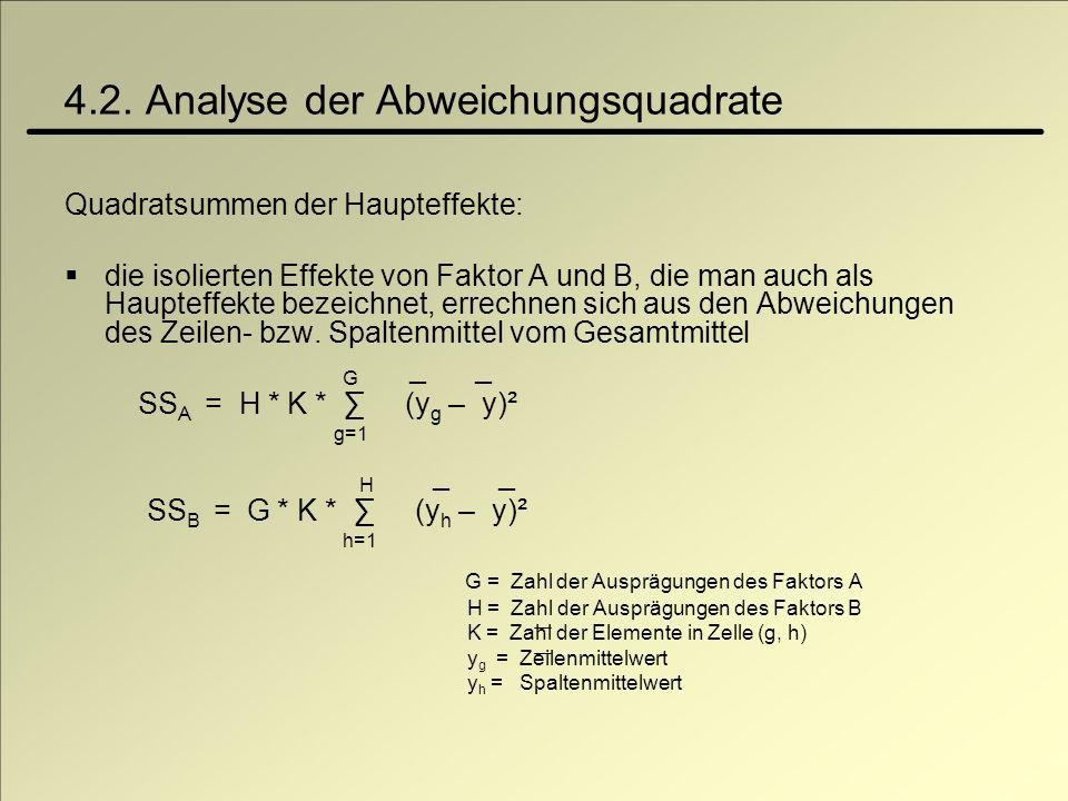 4.2. Analyse der Abweichungsquadrate Quadratsummen der Haupteffekte: die isolierten Effekte von Faktor A und B, die man auch als Haupteffekte bezeichn