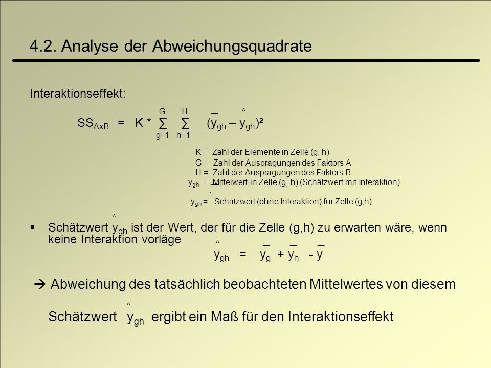4.2. Analyse der Abweichungsquadrate Interaktionseffekt: G H _ ^ SS AxB = K * (y gh – y gh )² g=1 h=1 K = Zahl der Elemente in Zelle (g, h) G = Zahl d