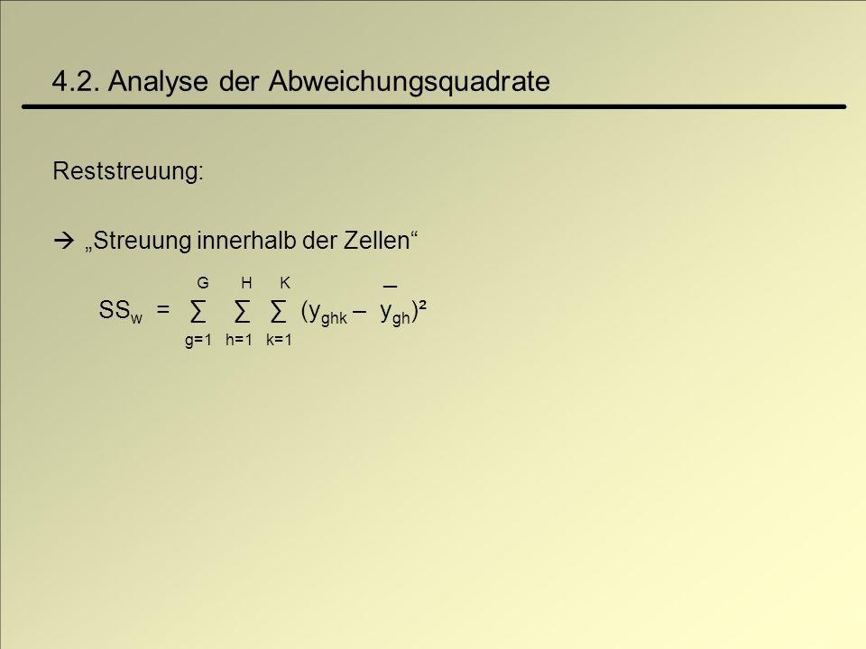 4.2. Analyse der Abweichungsquadrate Reststreuung: Streuung innerhalb der Zellen G H K _ SS w = (y ghk – y gh )² g=1 h=1 k=1