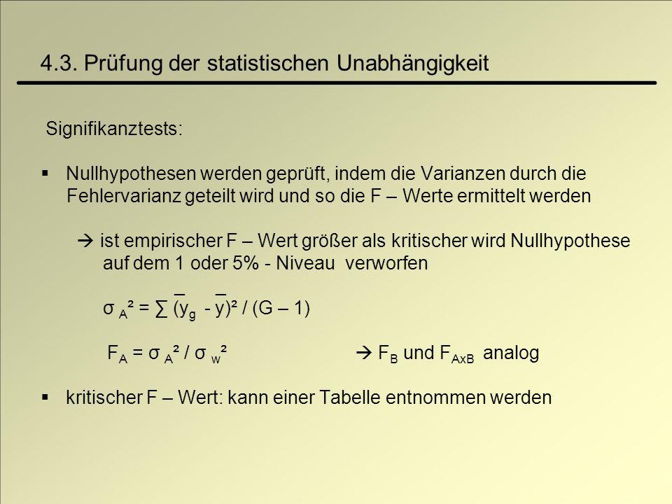 4.3. Prüfung der statistischen Unabhängigkeit Signifikanztests: Nullhypothesen werden geprüft, indem die Varianzen durch die Fehlervarianz geteilt wir