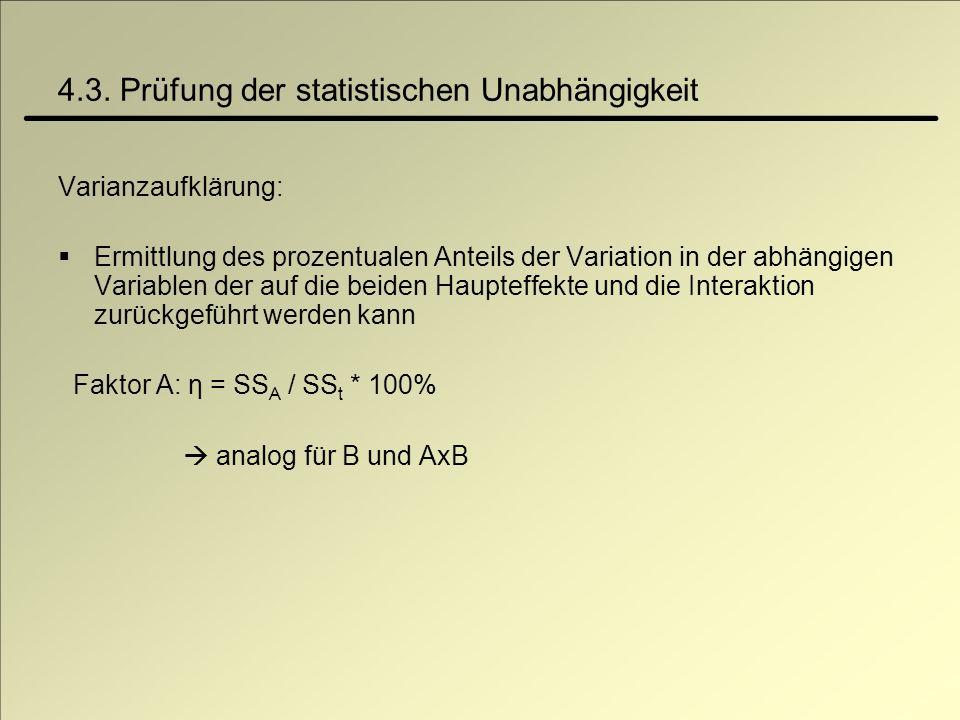 4.3. Prüfung der statistischen Unabhängigkeit Varianzaufklärung: Ermittlung des prozentualen Anteils der Variation in der abhängigen Variablen der auf