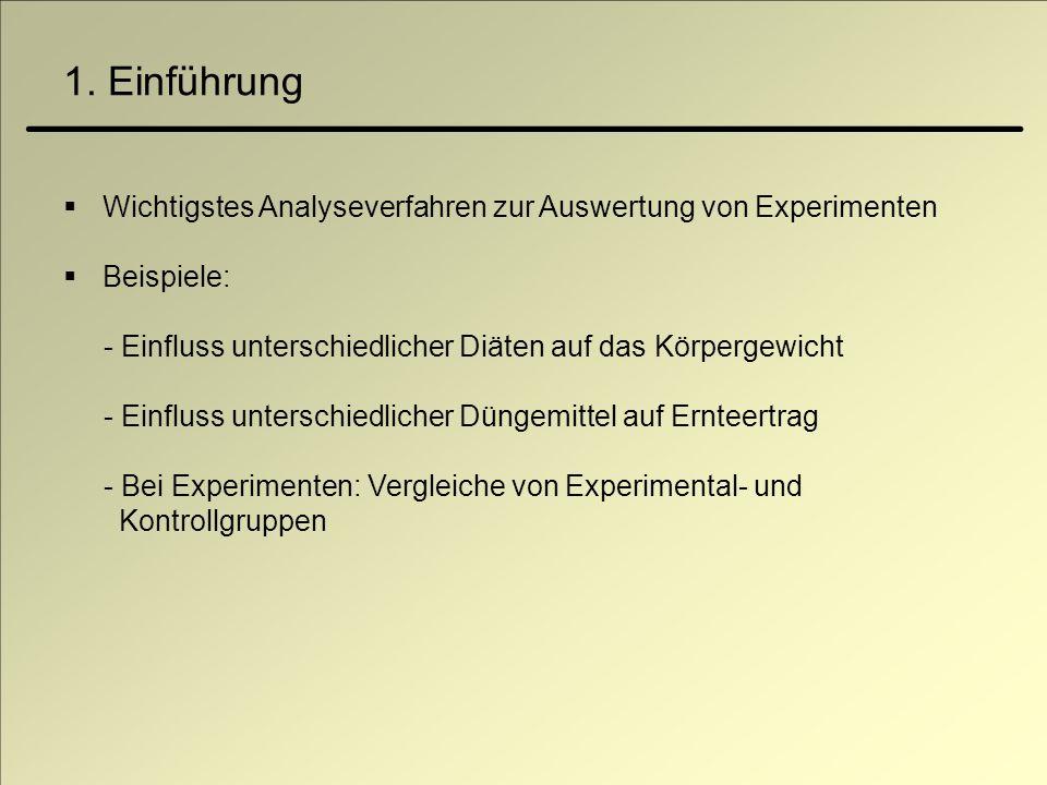 Wichtigstes Analyseverfahren zur Auswertung von Experimenten Beispiele: - Einfluss unterschiedlicher Diäten auf das Körpergewicht - Einfluss unterschi