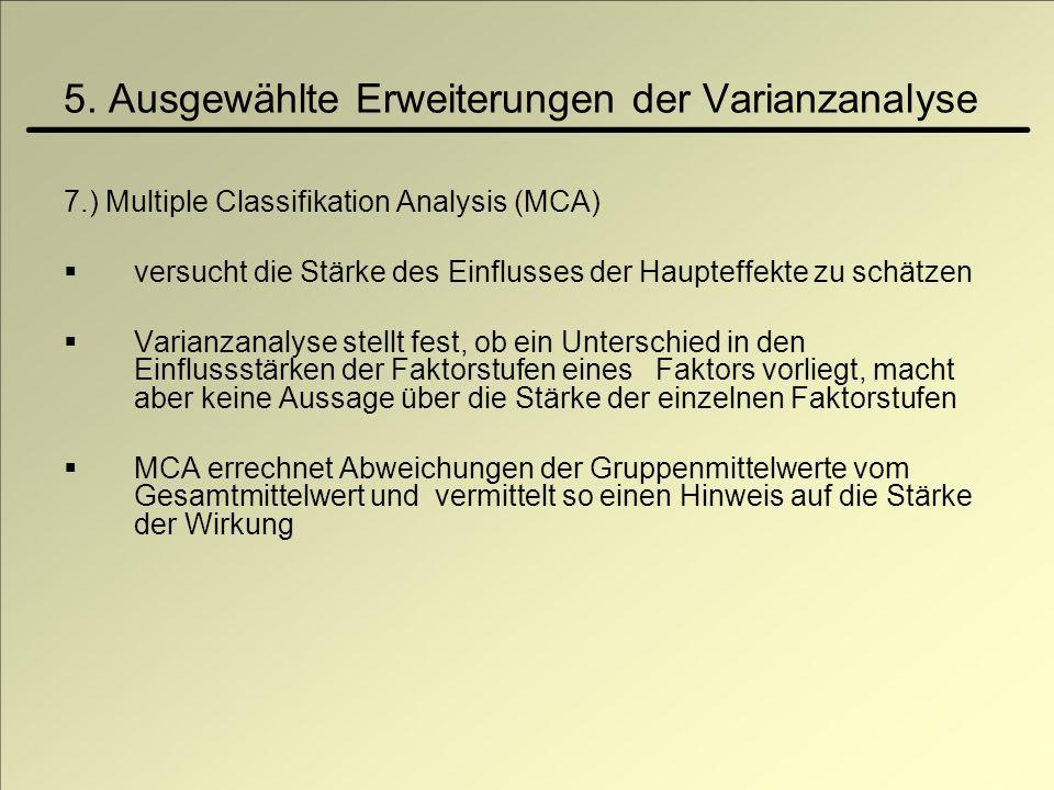 5. Ausgewählte Erweiterungen der Varianzanalyse 7.) Multiple Classifikation Analysis (MCA) versucht die Stärke des Einflusses der Haupteffekte zu schä