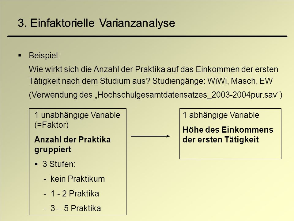 3. Einfaktorielle Varianzanalyse Beispiel: Wie wirkt sich die Anzahl der Praktika auf das Einkommen der ersten Tätigkeit nach dem Studium aus? Studien