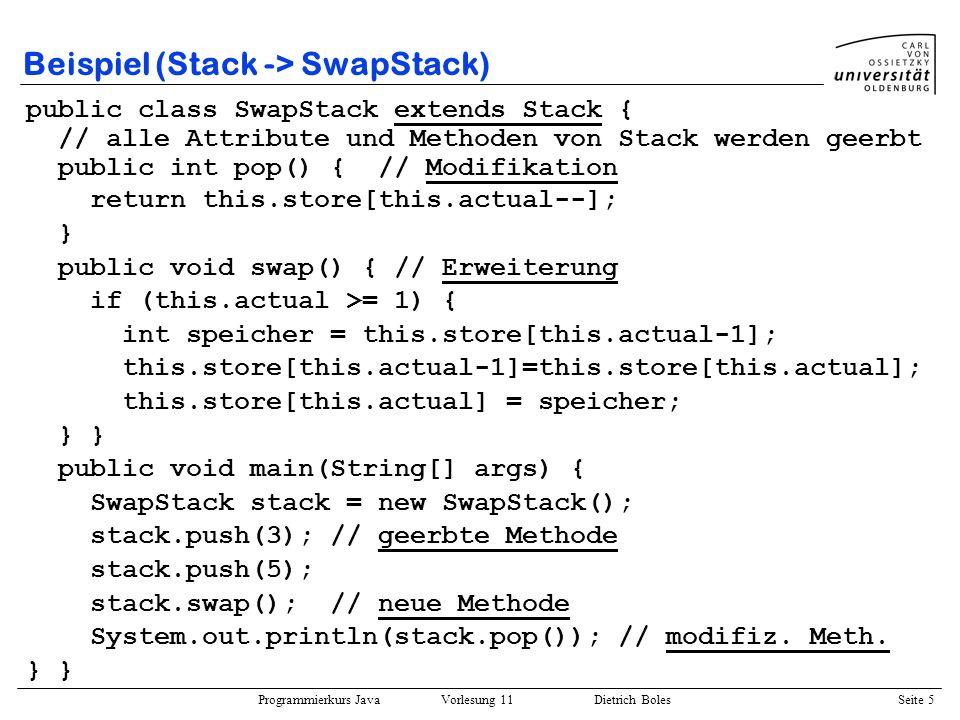Programmierkurs Java Vorlesung 11 Dietrich Boles Seite 36 Vorteile Wiederverwendbarkeit: –folgende Stack-Klasse kann für Objekte beliebiger Klassen genutzt werden public class Stack Object[] elemens; int actual; public void push(Object elem); public Object pop(); } Erweiterbarkeit (ohne Quellcode-Änderung) –Beispiel: TicTacToe-Spiel im Anhang (erweitert durch Klasse TTTProgramm ) –Methode bearbeite einsetzbar auch für später definierte Graphik-Klassen void bearbeite(Graphik obj) {...