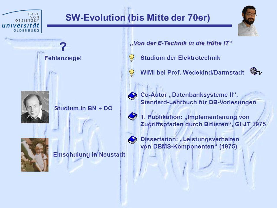 SW-Evolution (bis Mitte der 70er) ? Fehlanzeige! Studium in BN + DO Einschulung in Neustadt Von der E-Technik in die frühe IT Studium der Elektrotechn