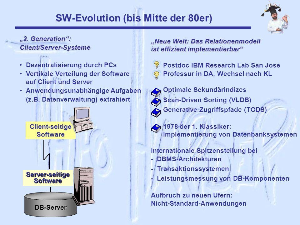 SW-Evolution (bis Mitte der 80er) 2. Generation: Client/Server-Systeme Dezentralisierung durch PCs Vertikale Verteilung der Software auf Client und Se