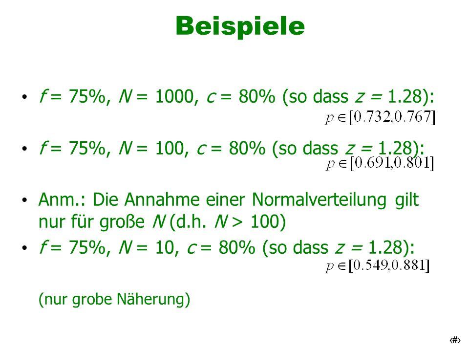 14 Beispiele f = 75%, N = 1000, c = 80% (so dass z = 1.28): f = 75%, N = 100, c = 80% (so dass z = 1.28): Anm.: Die Annahme einer Normalverteilung gil