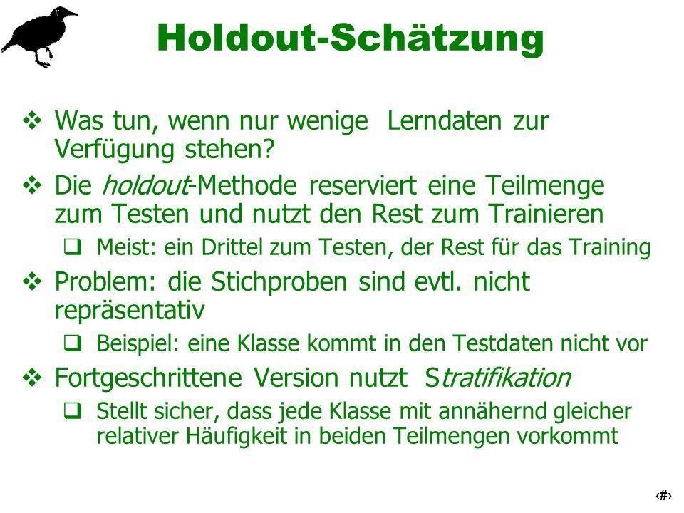 15 Holdout-Schätzung Was tun, wenn nur wenige Lerndaten zur Verfügung stehen? Die holdout-Methode reserviert eine Teilmenge zum Testen und nutzt den R