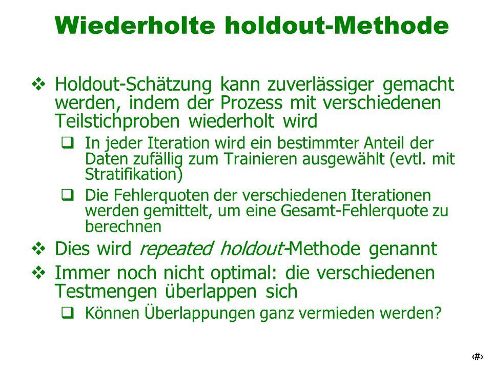 16 Wiederholte holdout-Methode Holdout-Schätzung kann zuverlässiger gemacht werden, indem der Prozess mit verschiedenen Teilstichproben wiederholt wir