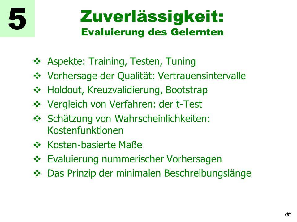 2 Zuverlässigkeit: Evaluierung des Gelernten Aspekte: Training, Testen, Tuning Vorhersage der Qualität: Vertrauensintervalle Holdout, Kreuzvalidierung