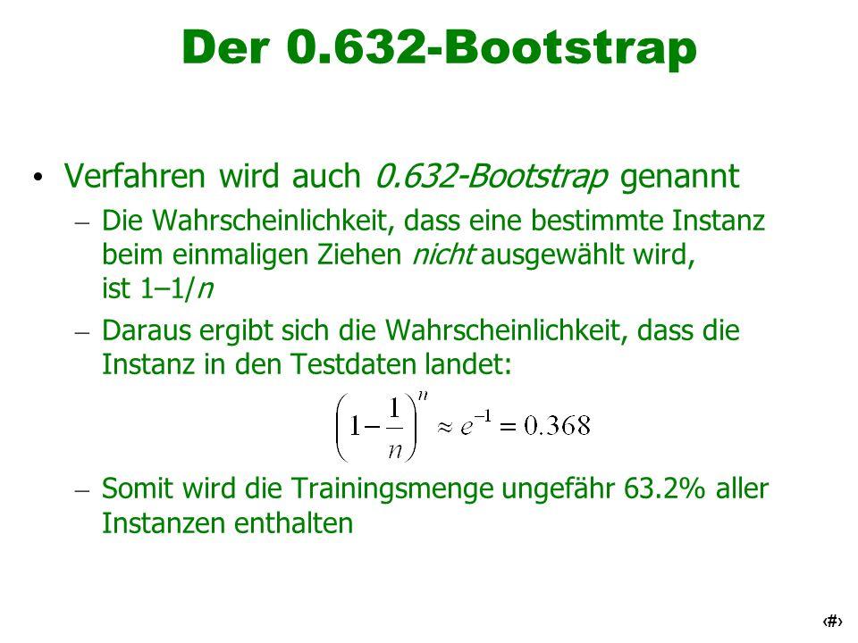 22 Der 0.632-Bootstrap Verfahren wird auch 0.632-Bootstrap genannt – Die Wahrscheinlichkeit, dass eine bestimmte Instanz beim einmaligen Ziehen nicht